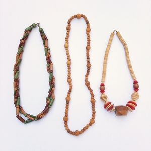 Vintage 70's Set of 3 Wood Bead Necklaces